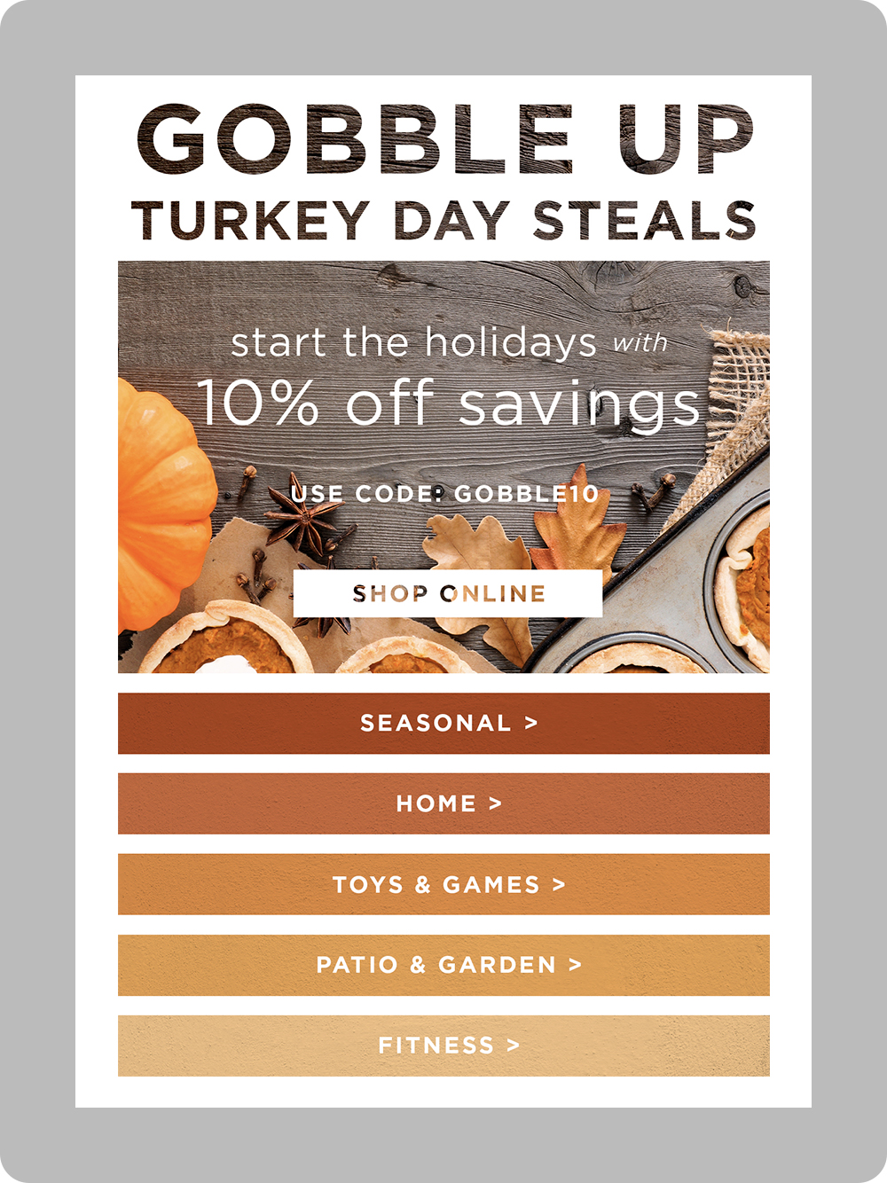 Thanksgiving email with stock imagery background and gradient category ctas