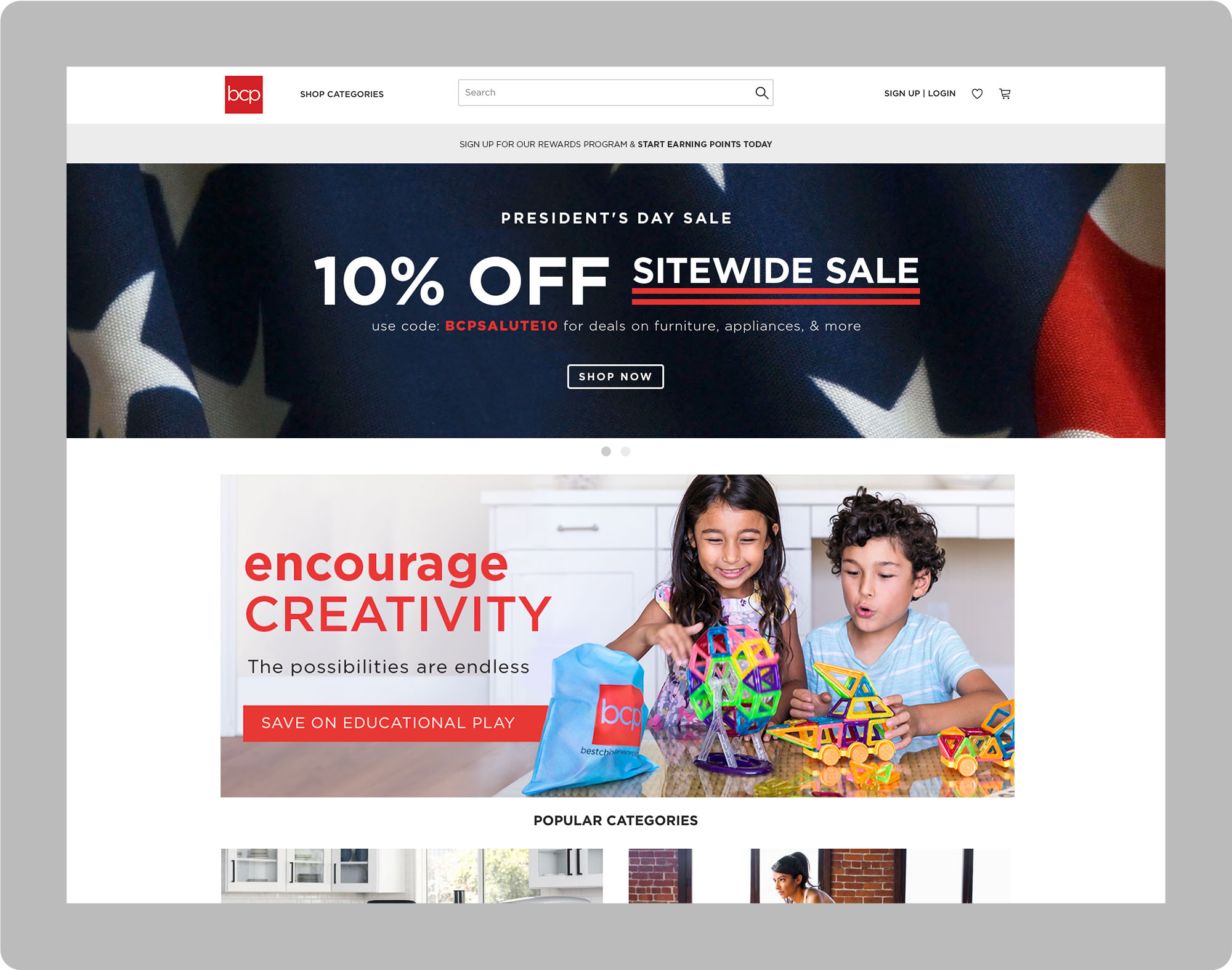 Graphic Sitewide sale banner for President's Day in Red, White, and Blue, and an evergreen children's toy banner
