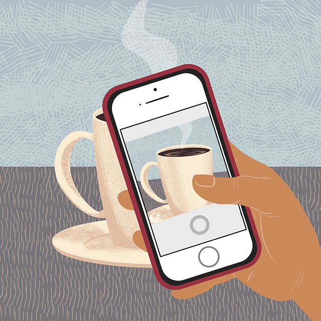 Taking a picture of steaming coffee with a phone
