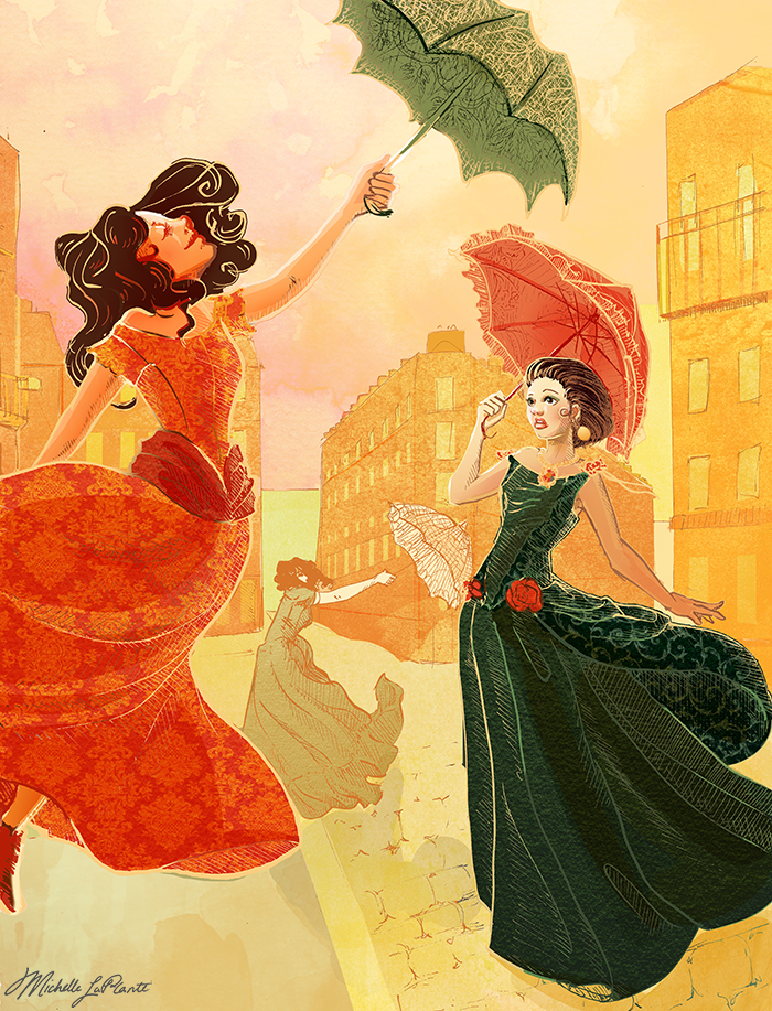 Strong Wind in a city with a woman with an unbrella being lifted off the ground