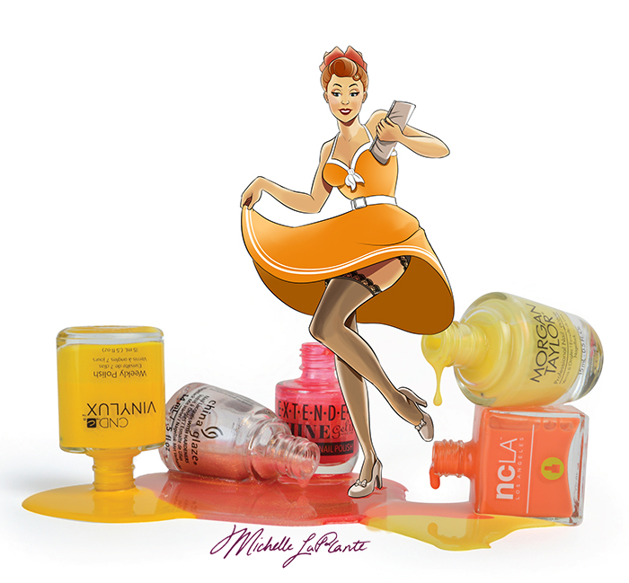 pin up woman in orange playing in nail polish puddle while skirt flies up