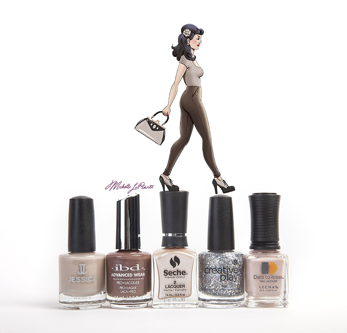 pin up girl in brown walking across nail polish caps