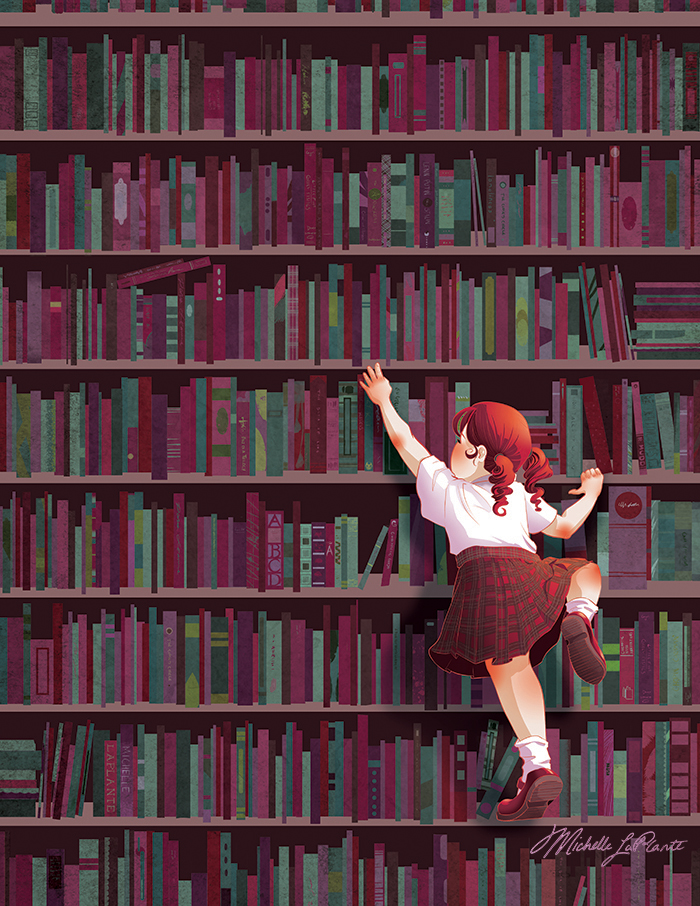 Child climbing up library shelves with a boost from a stack of books