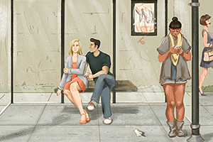 illustration of woman being harassed at a bus stop