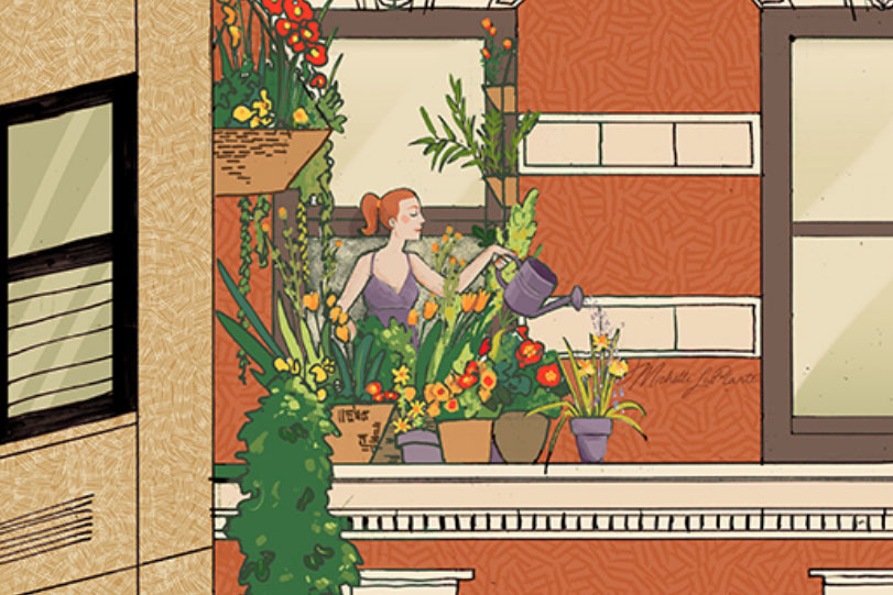 Illustration of woman watering her window garden
